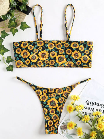 Bandeau Sunflower  Thong Bikini Swimsuit Sexy Bandeau Collar Low Waist