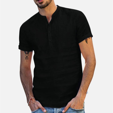 Summer Fashion Men Tops Men's Baggy Cotton Linen Soid Color Short Sleeve Retro Fashion Shirts