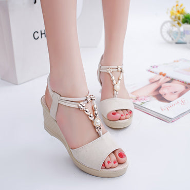 Platform Shoes Open Toe Slip On Sandal