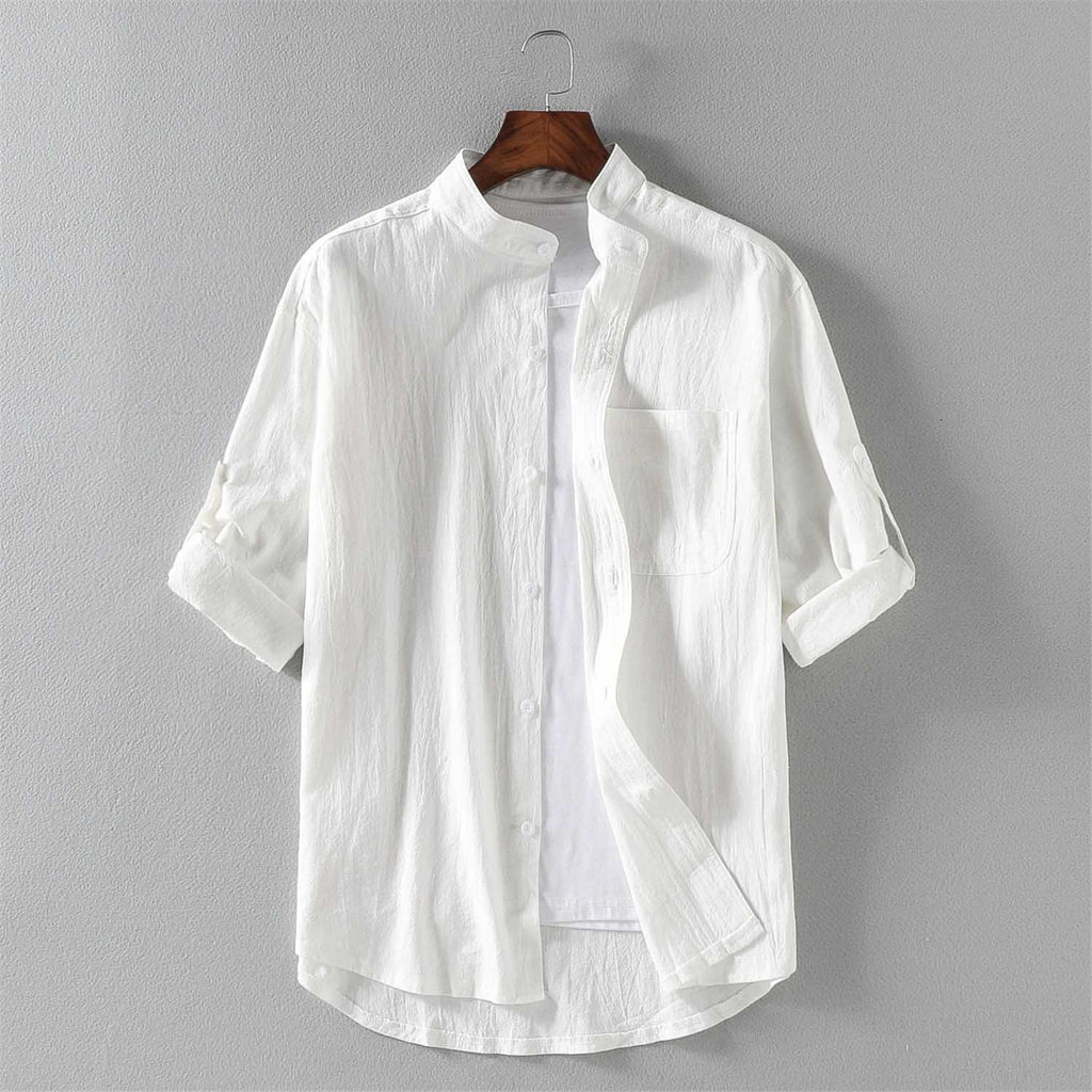 Summer Short Sleeve Fashion Shirts Men Loose Thin 100% Cotton Fashion Shirts