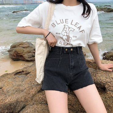 korean style high waisted Denim shorts
