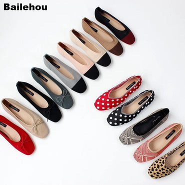 Breathable Knitted Square Toe Soft Moccasins Mixed Color Flat Shoes