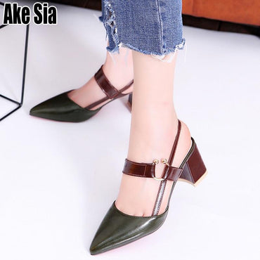 Fashion Elegant  Casual Pointed Toe Slippers Sandals Med Chunky Heels