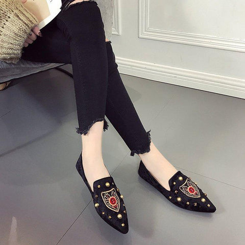 Shallow Low Slip-On Casual Soft Soled Moccasin Leisure  Lazy Flat Embroidery Thin Shoes