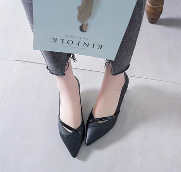 New Concise Style Pointed Toed Lady Fashion Casual Stilettos Shallow Low Pump Heels Stiletto Shoes