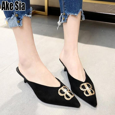 All-Match Fashion Casual Elegant Pointed Toe  Slip On Mules Med Heeled Stilettos Shoes