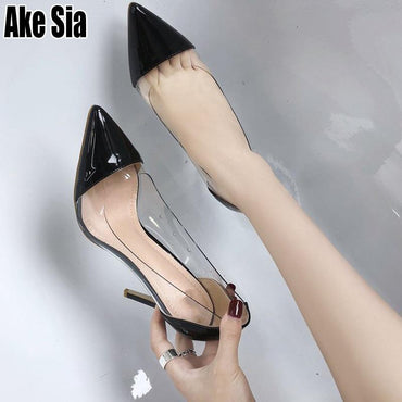 New  Fashion PU Leather Sexy Pointed Toe Stilettos Office Work Pumps Platforms High Heel Shoes