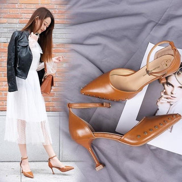 Spring Summer Elegant Pointed Toe Casual Fashion A-Buckle High Stilettos Heels