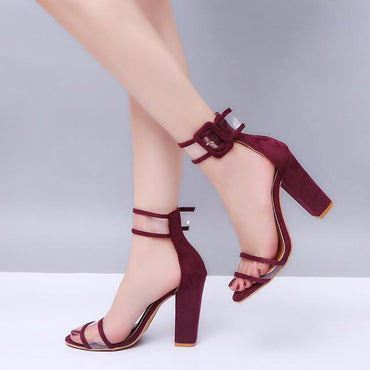 r Fashion Casual Peep Toe High Chunky Heels Hollow Out Lucency Sandals