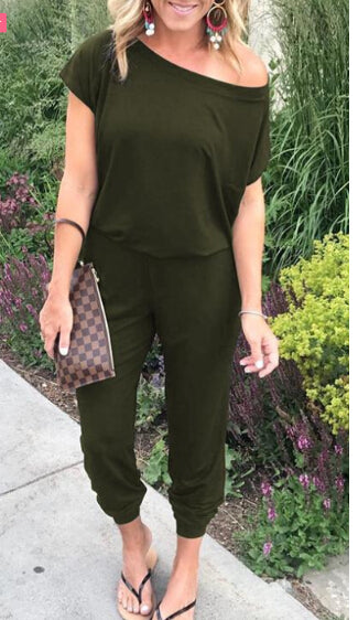 Off Shoulder Short Sleeve Casual Long Jumpsuit