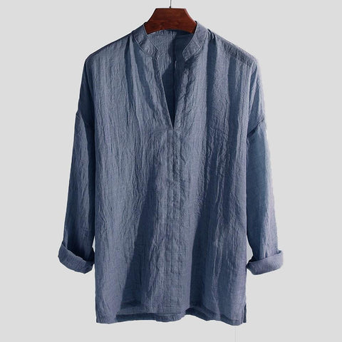 Breathable Men's Shirt Summer Causal Long Sleeve Loose Male Shirt Solid Color V-Neck Top Blouse