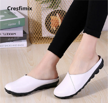 white slip on genuine leather flat shoes