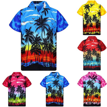 New Male Hawaiian Fashion Shirts Fashion Men's Casual Button Hawaii Print Beach Short Sleeve