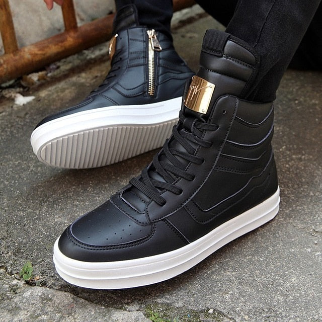 Winter Boots Men Waterproof Leather Boots Men High Top Shoes  White Winter Footwear Lace-Up Casual Shoes