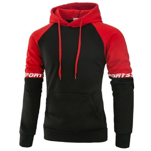 Casual Patchwork Fleece Hoodies Slim Fit Hooded Sweatshirts