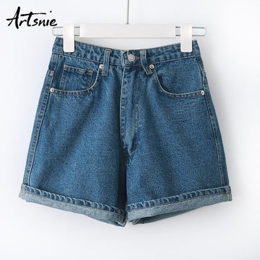 high waist zipper boyfriend jeans Denim shorts