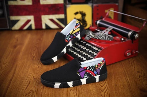 Men's Spring Autumn new listing canvas shoes shallow mouth graffiti pattern fashion flat casual shoes