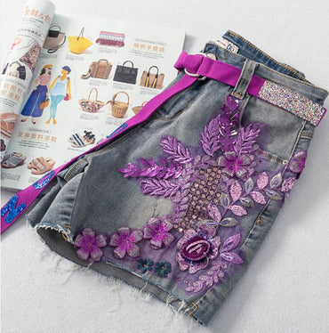 Heavy industry flower sequins stretch denim shorts