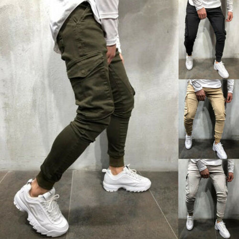 Cotton Elastic Long Trousers Military Army Cargo Pencil Pants