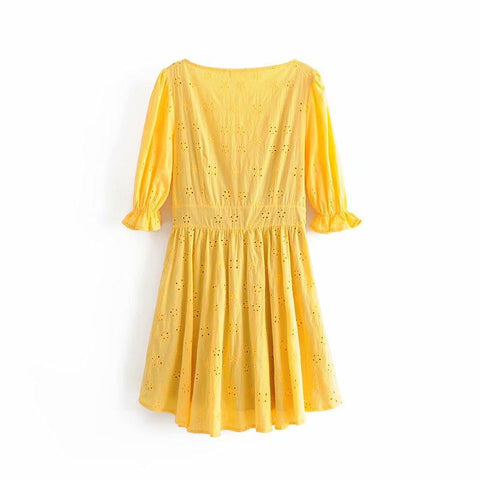 Yellow Embroidery Dress Lady Front Lace Up  Sexy V Neck A-line Mini Dress