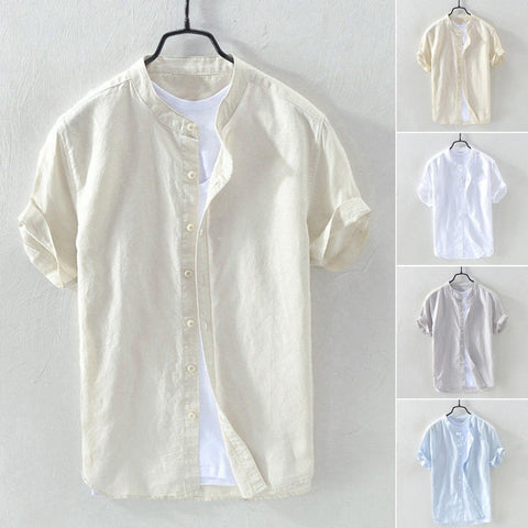 Hawaiian Fashion Shirts Linen Men Shirt Men's Baggy Linen Solid Short Sleeve Button Retro Fashion Shirts