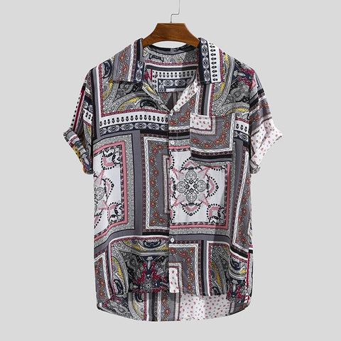 New Style Fashion Personality Men's Striped Casual Slim Short Sleeve Printed Shirt
