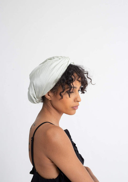 Silk Twist Turban - Silver Green Bonnets - BEAUTYBEEZ-beauty-supply
