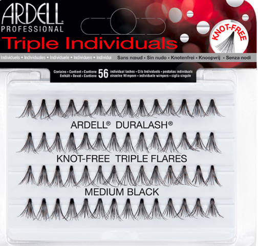 Triple Individual Lashes Medium Black 56 - BEAUTYBEEZ
