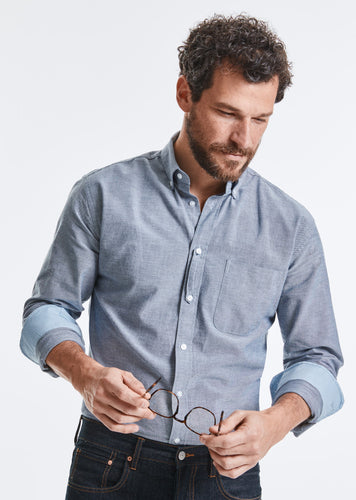 Organic Cotton Long Sleeve Oxford Shirt: Russell Collection