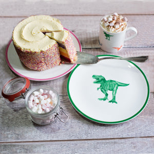 Kids tea party: British made children's plate with a green T-Rex sand hand painted rim. A range of kids crockery for every occasion.
