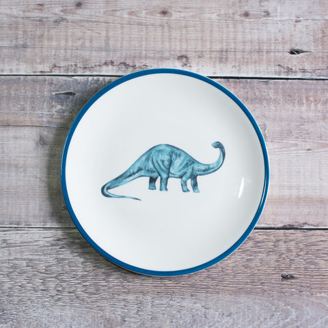 Children's dinosaur plate set: Blue diplodocus dinosaur plate, a perfect dinosaur birthday plate.