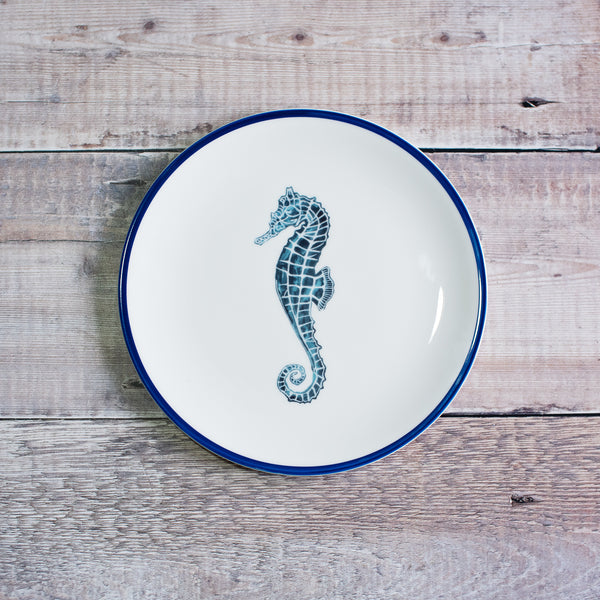 Children's  plate set: Blue seahorse plate, a perfect birthday plate.
