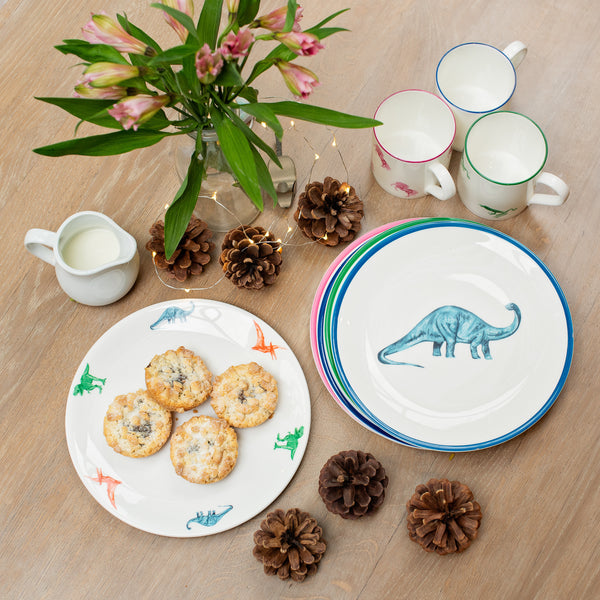 Blue dinosaur plate, gifts for boys, dinosaur gifts