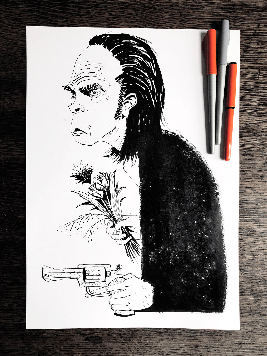 Nick Cave - Original A3 Illustration