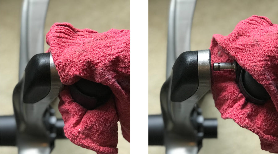 remove chair wheels with towel