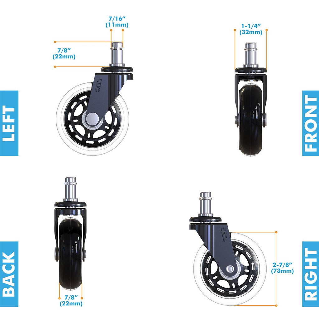 Chair caster wheel for tiles, thick carpets, etc.