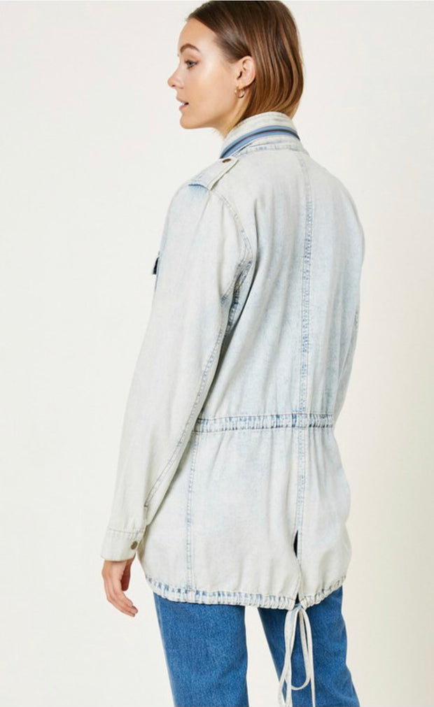 Acid Washed Denim Cargo Jacket
