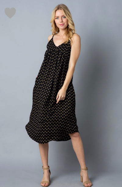 Midi Black Printed Dress