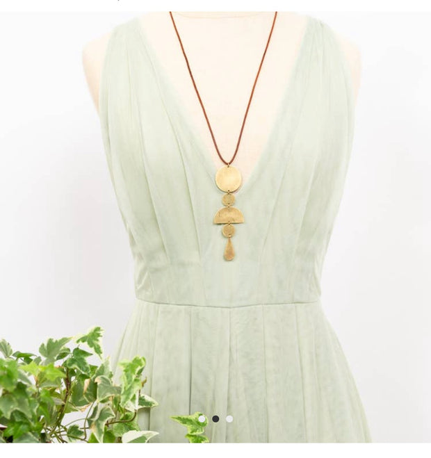 Long Brass & Leather Necklace