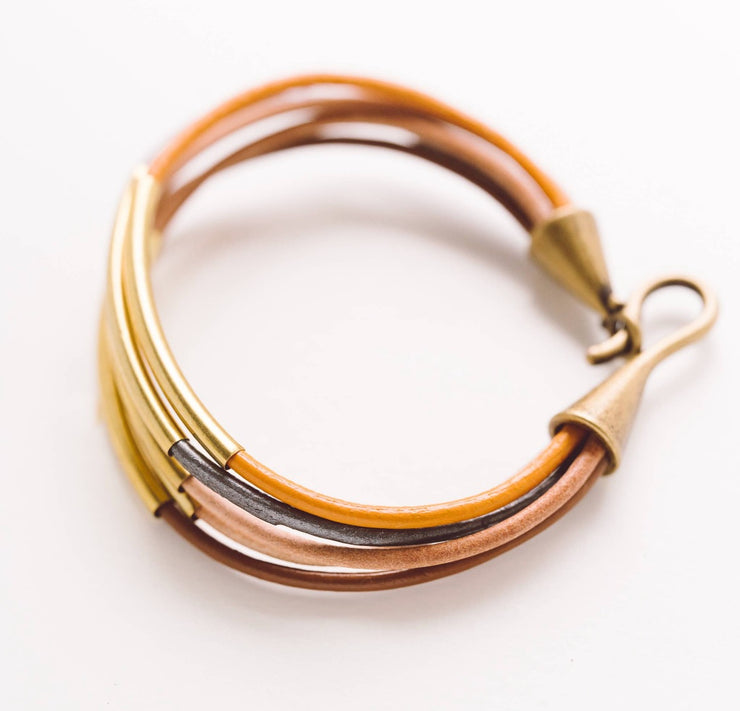 Leather & Brass Bracelet