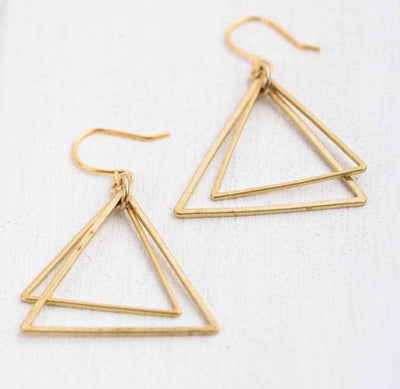 Minimal Triangle Brass Dangle