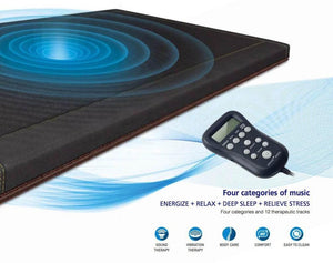 "Close Up Image of Richway Bio Acoustic Mat Professional 7000mx from Biomat Direct 74"" x 28"" shows remote and visual representation of audio waves and indicates is 4 modes of music: Energize, Deep Sleep, Relieve Stress, and Relax"