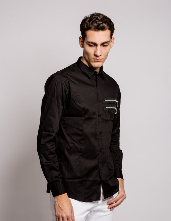 Double Zip Shirt Black
