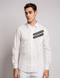 Double Zip Shirt White