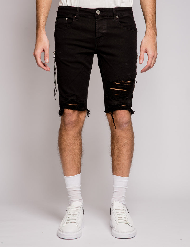 Lateral Zip Short Black