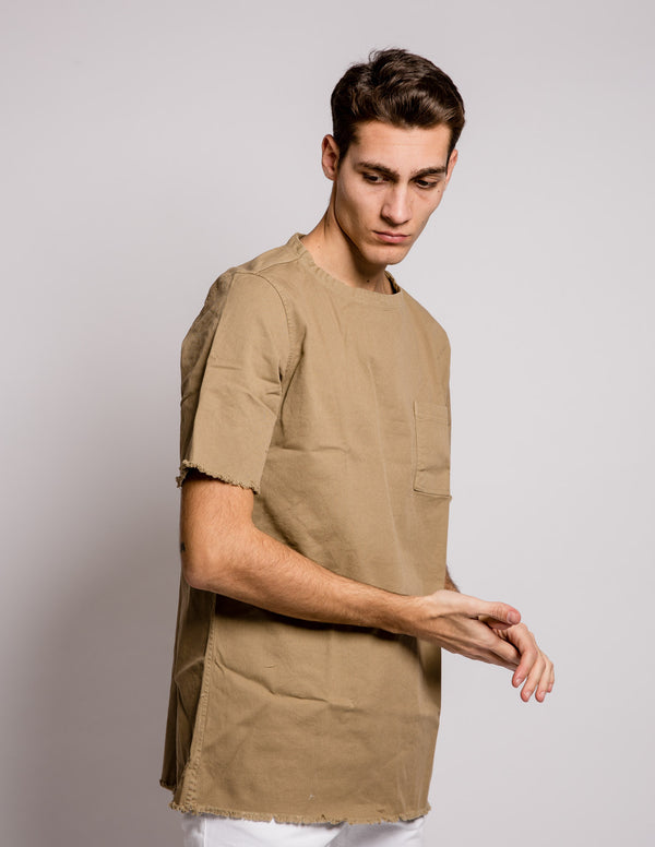Sleeves Pocket Shirt Camel