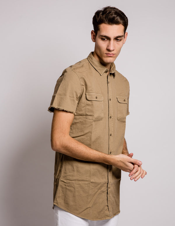 Sleeves Shirt Camel