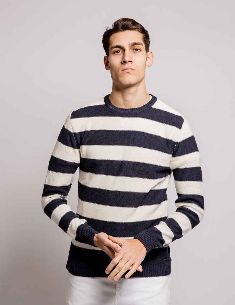 Strip Sweater White Blue
