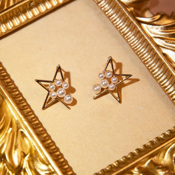 Earrings Gold Star Pearl Stud Earrings 14K Gold-Plated ASTRIA STUDS - 14K GOLD-PLATED Moi Accessories