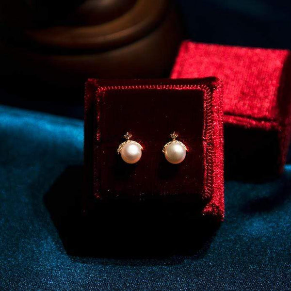 Earrings IRINA PEARL STUDS - GOLD VERMEIL Moi Accessories